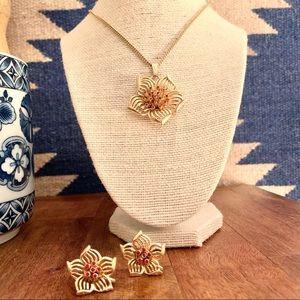 Vintage Karu Dogwood Blossom Necklace & Earrings